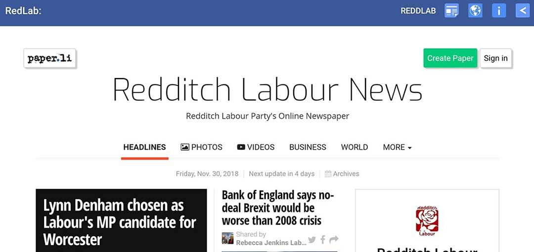 Redditch Labours weekly online newspaper
